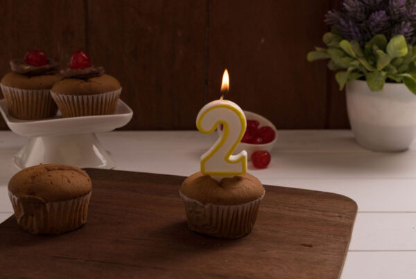 Muffin with 2year candle